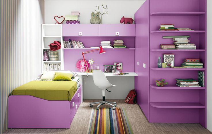 #Klou #dormire Spazio studio e lettura con scrittoio tra letto con meccanismo estraibile e cabina armadio con terminale a giorno colore Fucsia.