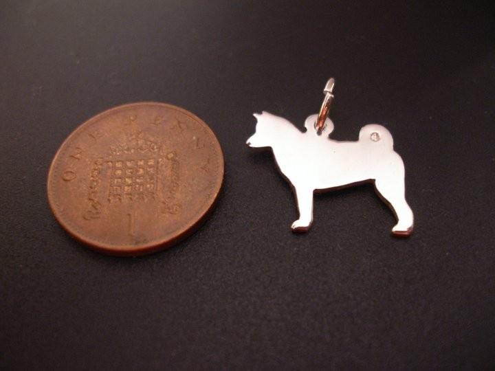 Sterling Silver Akita Dog Charm Handmade, £8.99