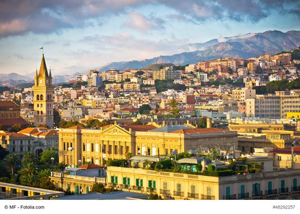 The View of Messina Old Town, Sicily, Italy - The old town of Messina is a great place to start exploring the city. Piazza del Duomo, the center of old town, offers the Cathedral, Bell Tower and the Orion fountain that every history and architecture lover would enjoy.
