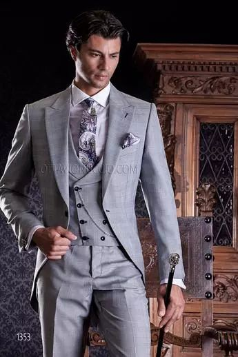 ONGala 1353 - Abito da sposo grigio chiaro Principe di Galles con gilet doppiopetto sciallato