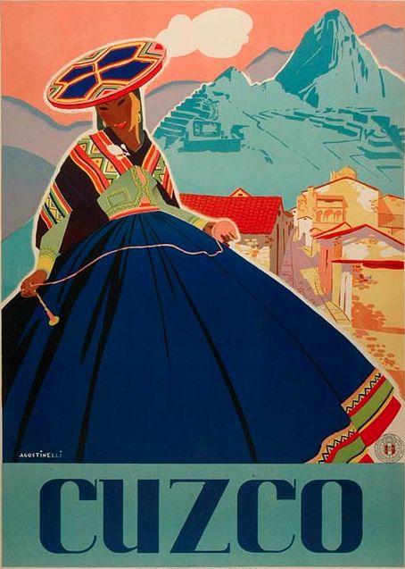 By Agostinelli, ca 1 9 4 7, Cuzco. #VintageTravel Peru                                                                                                                                                      Más
