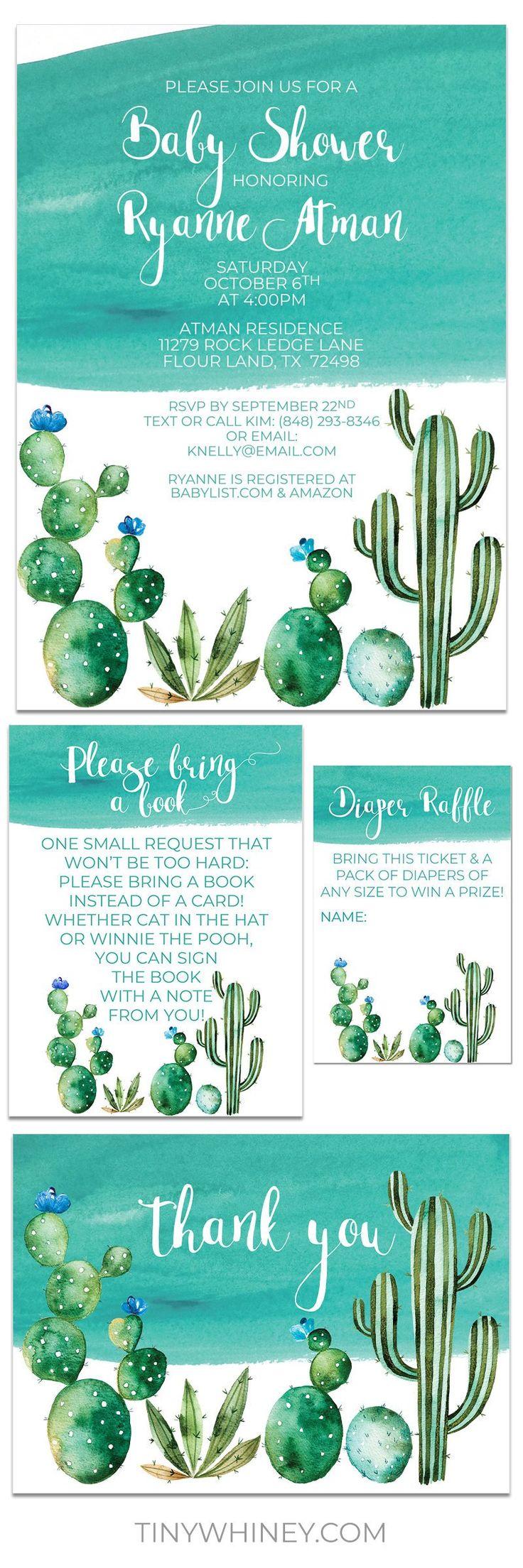 Afdrukbare uitnodigingssuite – Cactus babydouche jongensuitnodiging met een boekkaart, luier loterij ticket, bedankt, baby douchesuite