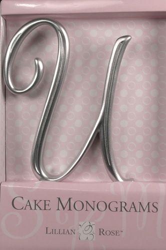 U Monogram Wedding Cake Topper by Lillian Rose Large Silver