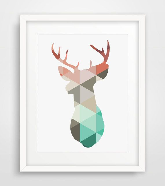A mint and coral stag print really stands out on any wall. Just click the link to capture this one and immortalize it in your very own home or office :) http://etsy.me/29CYTm9 - Melinda Wood Designs
