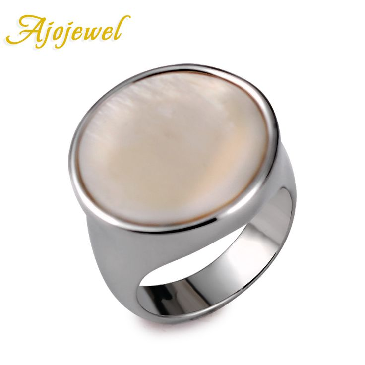 Ajojewel Unisex Plated Trendy Classic Round Shaped White Shell Natural Stone Ring For Women and Men