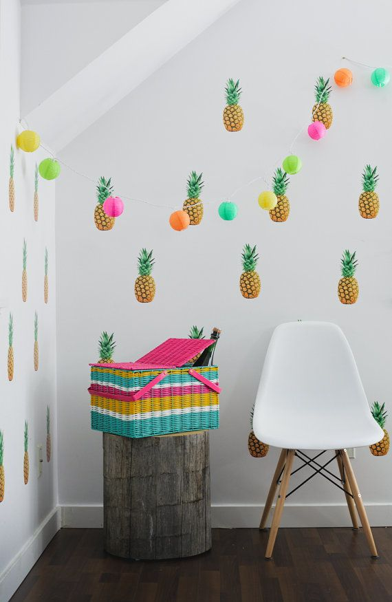 Contemporary Kitsch Pineapple Wall Decals Rockabilly Hawaiian Fun For Walls  Am Sure I Could Find Somewhere That Needs Pineapple Stickers! Part 69