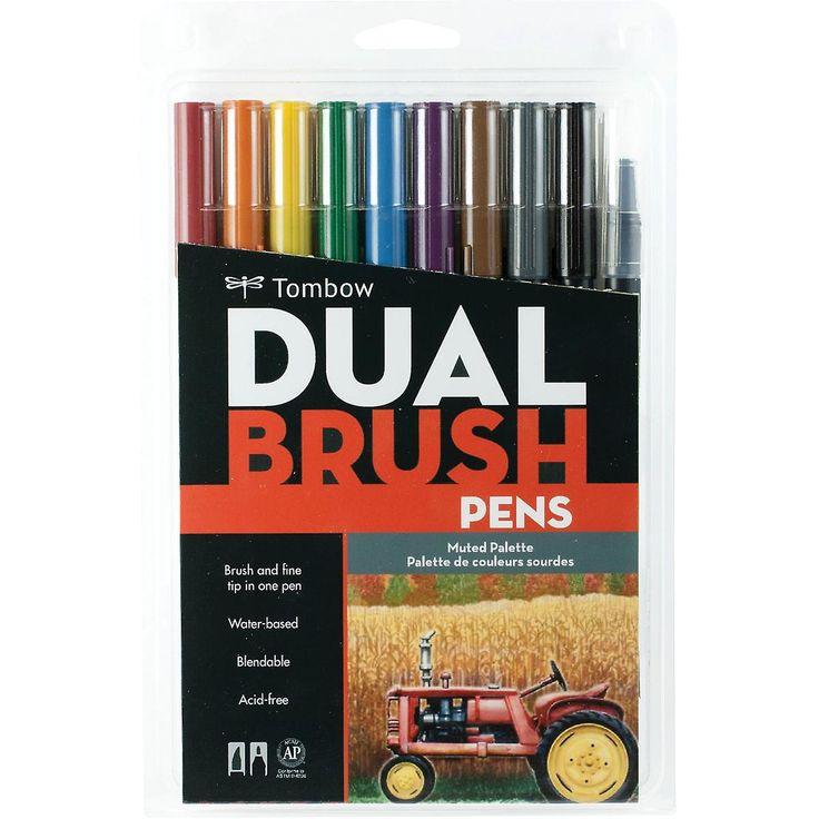 Tombow Dual Brush pennen 10 Pkg gedempt Dbp10 56186 | Markeerstiften | Fruugo…