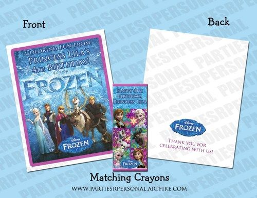 Disney Frozen Personalized Coloring Book Crayons Favor Set
