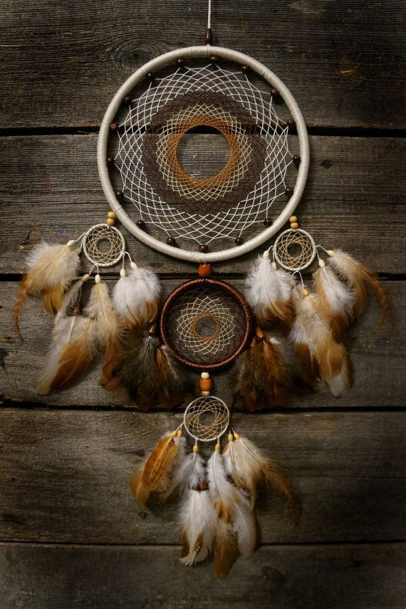 Beige dream catcher Dreamcatcher / Brown dream catcher /  Native american Feathers rooster/ Traumfänger/ Atrapasueños/