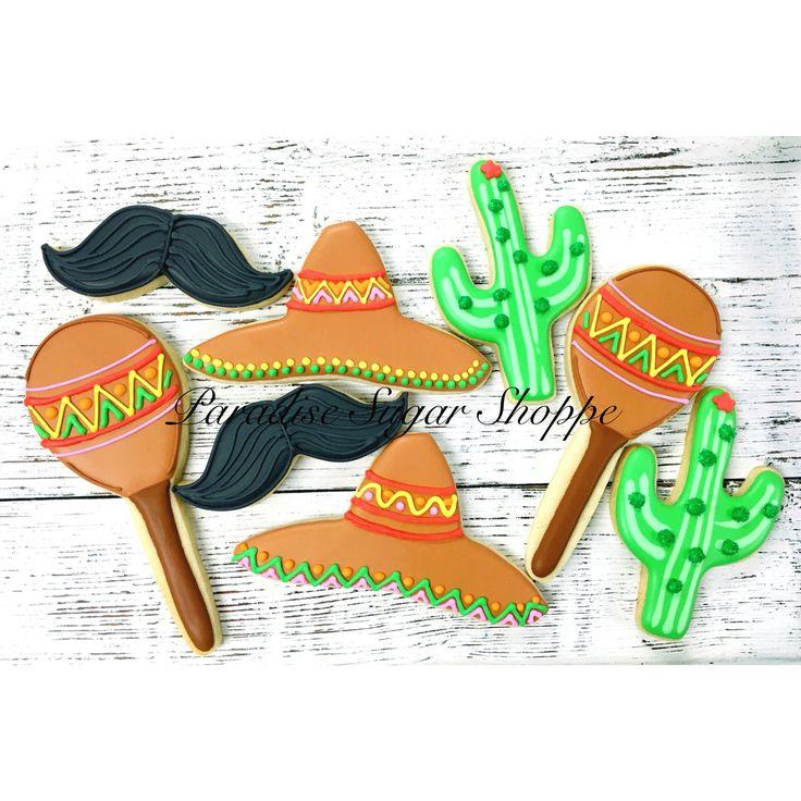 Cinco de mayo cookies sombrero maraca cactus mustache by Paradise Sugar Shoppe