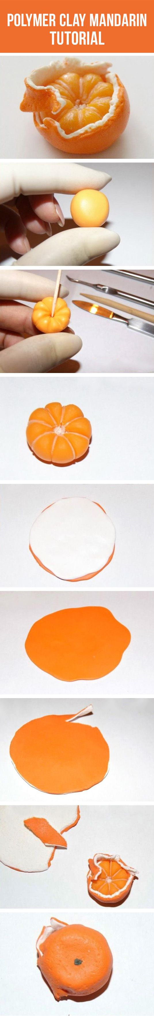 Mandarina deliciosa con arcilla polimérica
