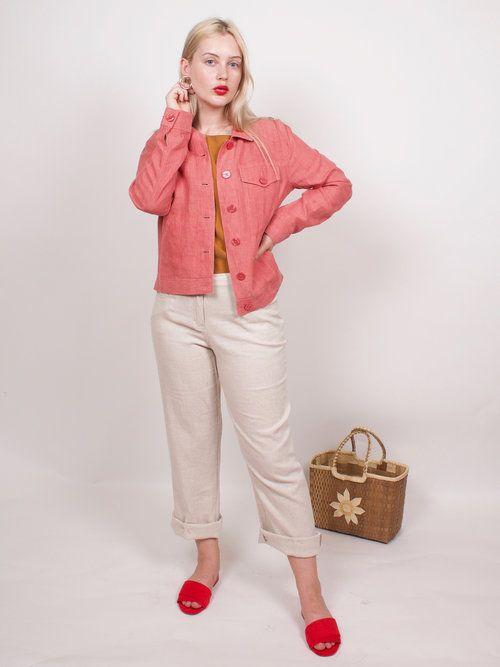 graceland collection vintage | vintage 100% linen rust pink jacket
