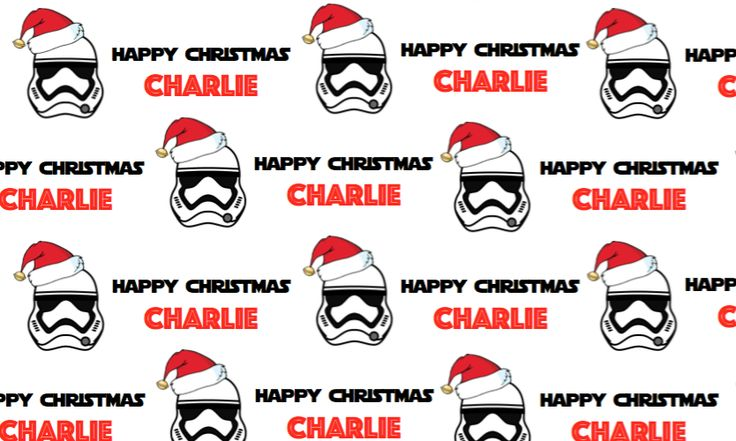 Personalised Star Wars Christmas Wrapping Paper with two tags.