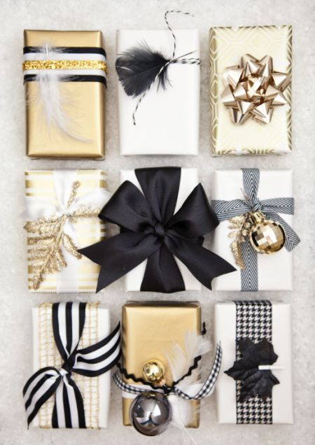 boxwood clippings_black, white and gold gift wrap