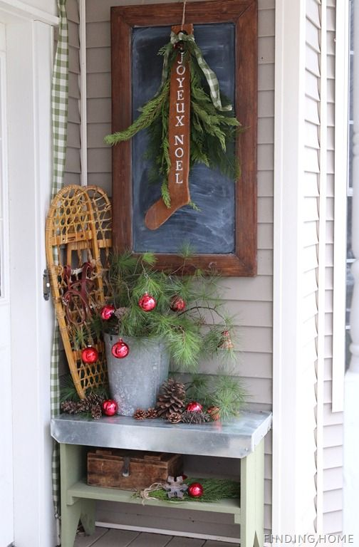 25 best christmas front porches ideas on pinterest for Country christmas decorations for front porch