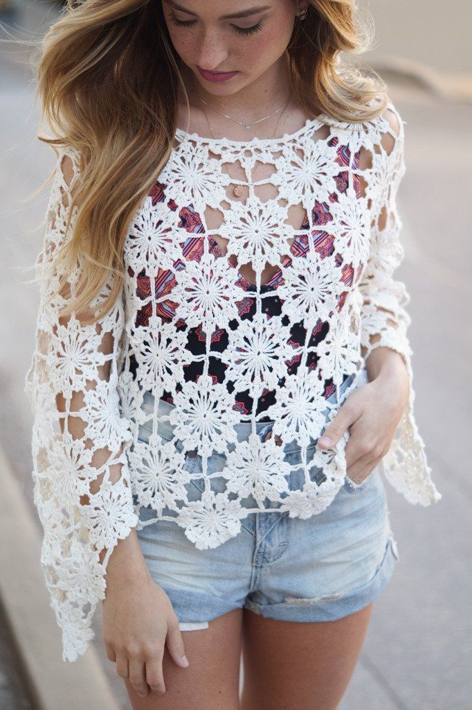 "Details Size Shipping Cotton Unlined Crochet  Long sleeves Pull-over construction Loose fit Length: approx. 19"" Bust: approx. 40"" Measured from size S Orders ty"