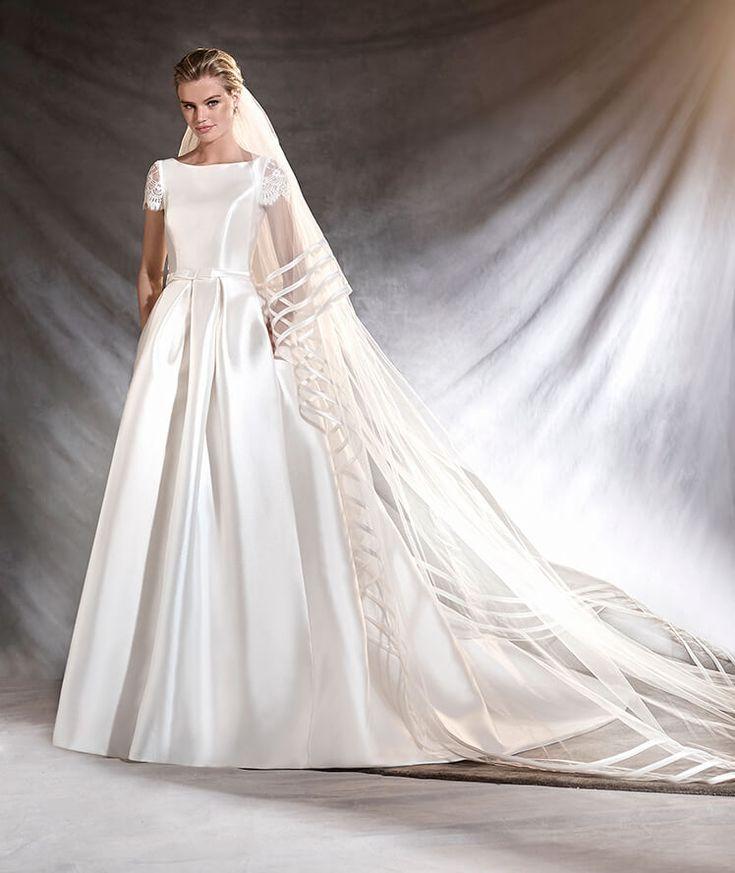 OTELO - Vestido de novia de mikado, encaje y escote barco