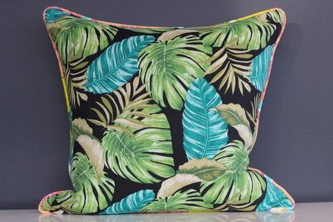 Jungle Greens piped in Tropical Colours - 50cm x 50cm – Blue Scarlet