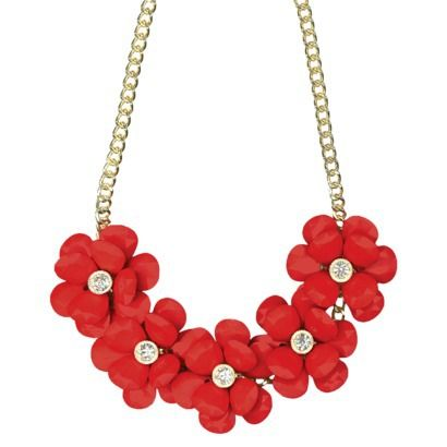 """Women's Statement Necklace - Coral/Gold (18"""")"""