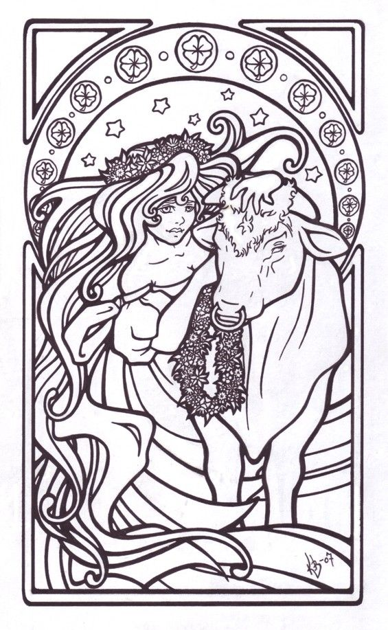 taurus zodiac sign advanced coloring pages for grown ups