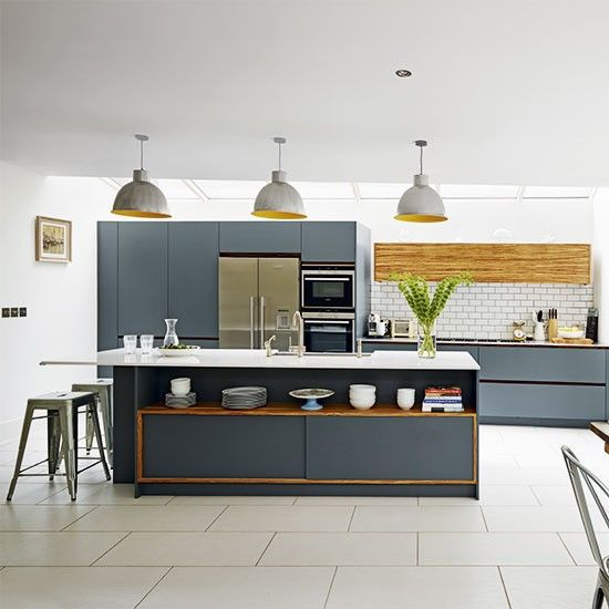 Modern grey and wood is a winning combination in the kitchen. This sleek handleless design is designed to bridge the gap between kitchen and living room furniture. housetohome.co.ukhttp://www.housetohome.co.uk/kitchen/picture/modern-kitchen-with-grey-cabinetry#RJ7vwx5vFTMCpoyp.32