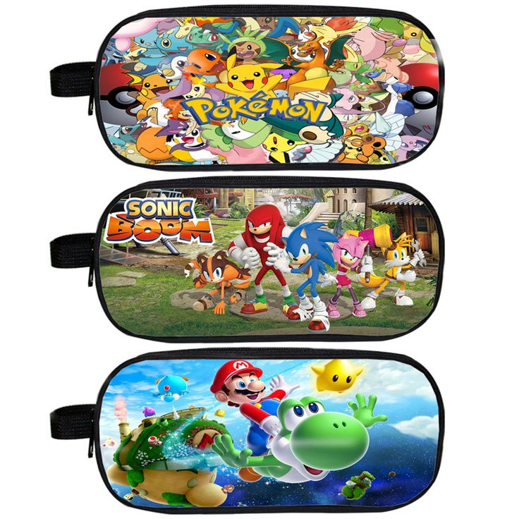 Anime Pokemon / Mario / Sonic Boom Pencil Holder Boys Girls School Case Kids Cases Cartoon Pikacun Bag Material Escolar Lapices