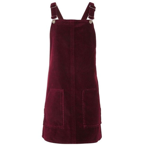 Women's Topshop Velvet Pinafore Dress ($75) ❤ liked on Polyvore featuring dresses, rompers, topshop, purple velvet dress, velvet dress, purple dress, pinafore dresses and pinny dress