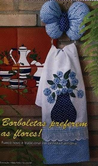 Decorated Kitchen Towel with Holder