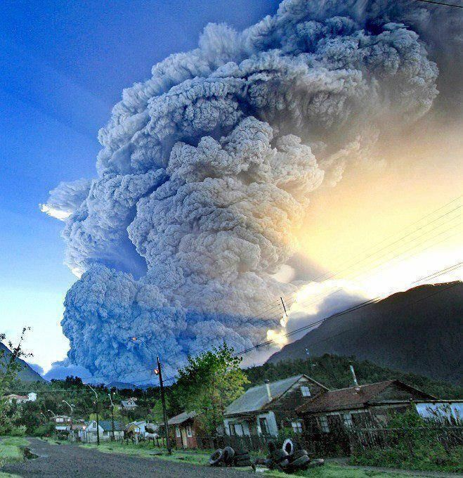 A huge cloud of ash spewed from the Chaiten volcano, Chile