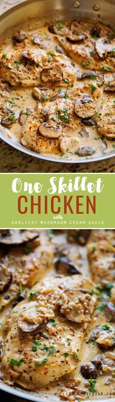 One Skillet Chicken with Garlicky Mushroom Cream Sauce - An easy one skillet chicken recipe made with sautéed garlic & mushrooms, and topped with a delicious creamy sauce. Ready in only 30 minutes, and perfect over a bed of pasta!