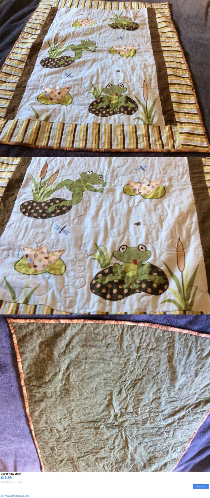 Quilts And Coverlets: New Handmade Baby Girl Boy Quilt Crib Blanket Frog Lilly Pads BUY IT NOW ONLY: $43.99 #ustylefashionQuiltsAndCoverlets OR #ustylefashion