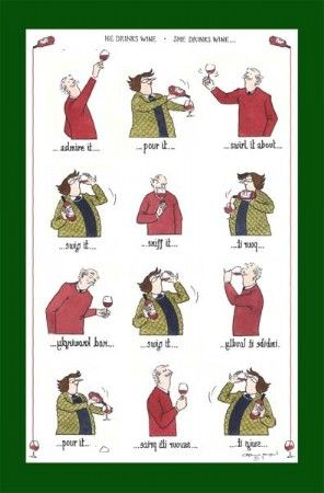 He Drinks Wine, She Drinks Wine Tea Towel from Tottering by Gently