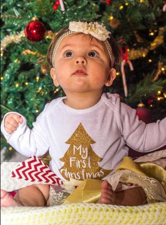 My First Christmas Outfit Shabby Chic by BowsandTiesBoutique