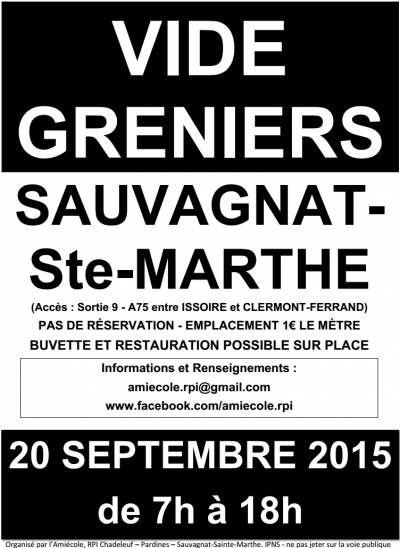 affiche Vide grenier Sauvagnat-Sainte-Marthe