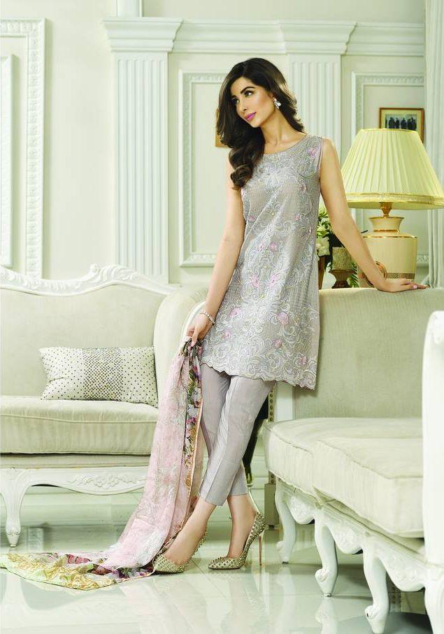 Buy Silver Zarqash Embroidered Cotton Silk Dress for Women by PakRobe.com Contact: (702) 751-3523 Email: info@pakrobe.com Skype: PakRobe