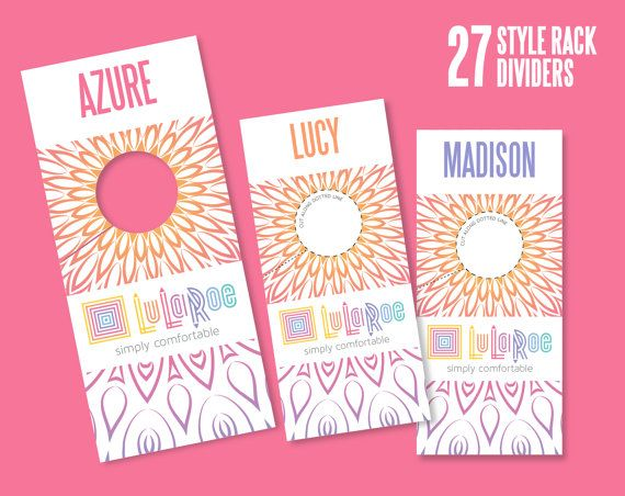 LuLaRoe Consultant, Mandala LuLaRoe Style Rack Dividers (3.25 x 7.25 inches). Ready for Print ( digital Download product ).  DIGITAL PRINTABLE PDF file for you to print or have professionally printed. (NOT sized or recommended for Vistaprint printing.)  Each divider measures 3.25 x 7.25 inches and has 1.5 inches circle to fit rack rod. Simply print on heavy card stock or photo paper and cut out. Your Manadala LuLaRoe rack organizing will be so delicious!  27 LuLaRoe styles include: Azure…