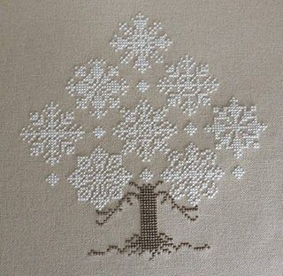 "Although this is cross stitch and I would usually Pin it there, there is something fascinating about the presentation of the living tree aspect mixed with the purity of the white ""snow"" factor. I discovered the designer is Cricket Collection, Bk 79."