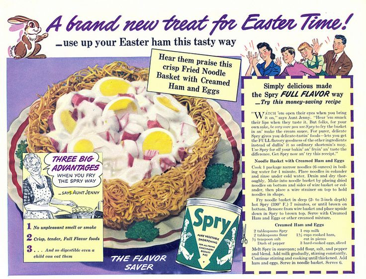 Vintage creamed ham and eggs recipe for Easter. #vintage #1940s #Easter #ads