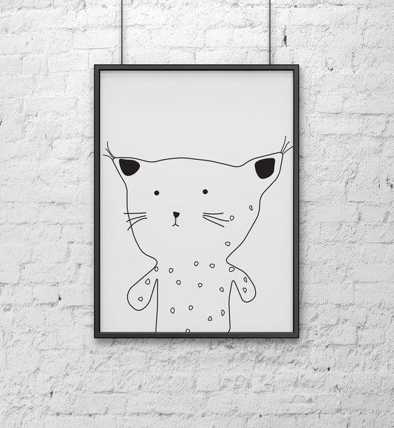 Ryś - Szare-Kropki - Plakaty dla dzieci