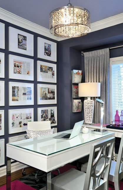 "Like a signature this office is truly unique. From its intriguing and glamorous colour palette of dark inky purple to the modern glossy bright white work surfaces, I set out to create a glamorous home ""think tank"" for a fashion conscious homeowner that stands out with functionality, elegance and above …"