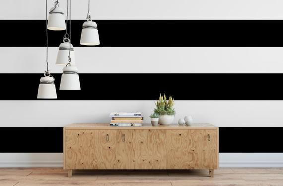 Black And White Stripe Wallpaper Removable Wallpaper Etsy Striped Bathroom Walls Stripe Removable Wallpaper Striped Walls