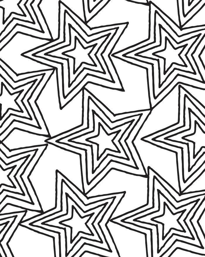 Printable Star Pattern Coloring Page for Adults and Kids ...