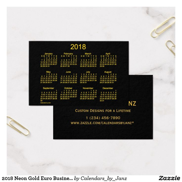 62 best business card calendars images on pinterest business cards 2018 neon gold euro business calendar by janz business card colourmoves