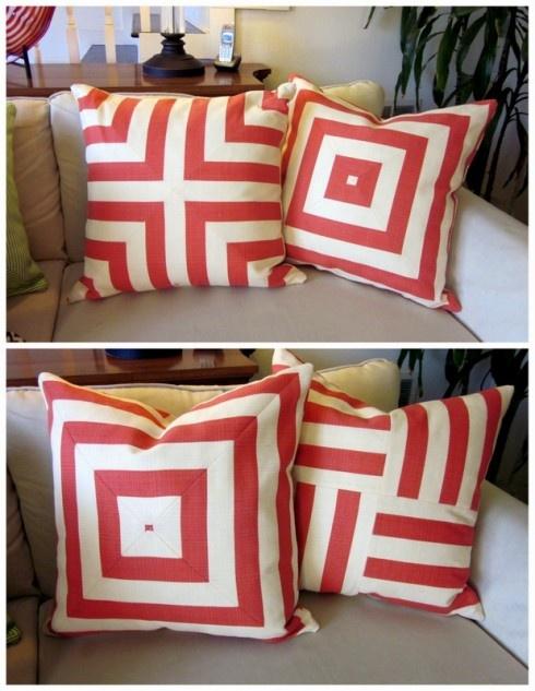 Geometric designs using striped fabric.