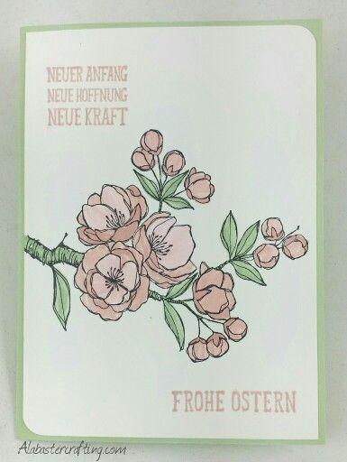 Osterkarte/ Easter card  Stampin up   Stempelset/stamp set:  Frohe Osterbotschaft/Indescribable Gift (german),  Farben/Colours  Kirschblüte/Blushing Bride, Pistazie/Pistachio Pudding, Flüsterweiß/Whisper White,