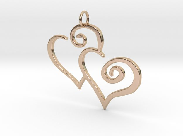14k Rose Gold Plated 2-Heart Charm Pendant 3d printed