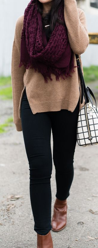 #Winter #Outfits / Burgundy Scarf + Beige Knit