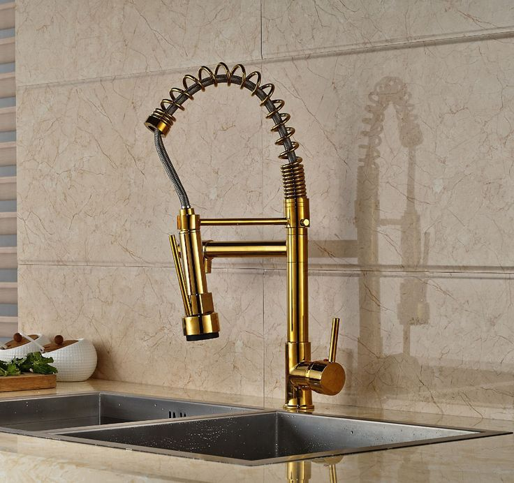 New Design Gold Finish Pull Down Sprayer Kitchen Faucet Mixer Faucet Deck Mount Mixer Tap-in Kitchen Faucets from Home Improvement on Aliexpress.com | Alibaba Group