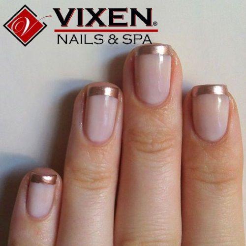 Gold French Manicure www.vixenspa.com
