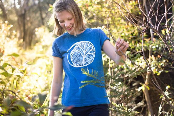Eco Tshirt Blue Moon 100 recycled organic ethical by Cliffwatcher